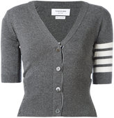 Thom Browne striped trim cardigan - women - Cashmere - 38