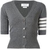 Thom Browne striped trim cardigan - women - Cashmere - 40
