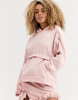 adidas x J KOO trefoil ruffle hoodie pink