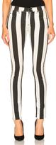 Off-White Striped Skinny Jeans in Stripes,Black,White.