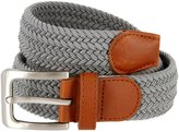"""Belts Men's Elastic Fabric Woven Stretch Belt Leather Inlay Multi-Color options (L(37""""-39"""") Total Length 46"""", )"""