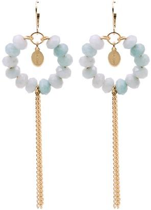 Salome Bridal Collection Tribal Aquamarine Fringe Earrings