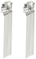 GUESS Stone Cluster Top with Chain Fringe Linear Earrings