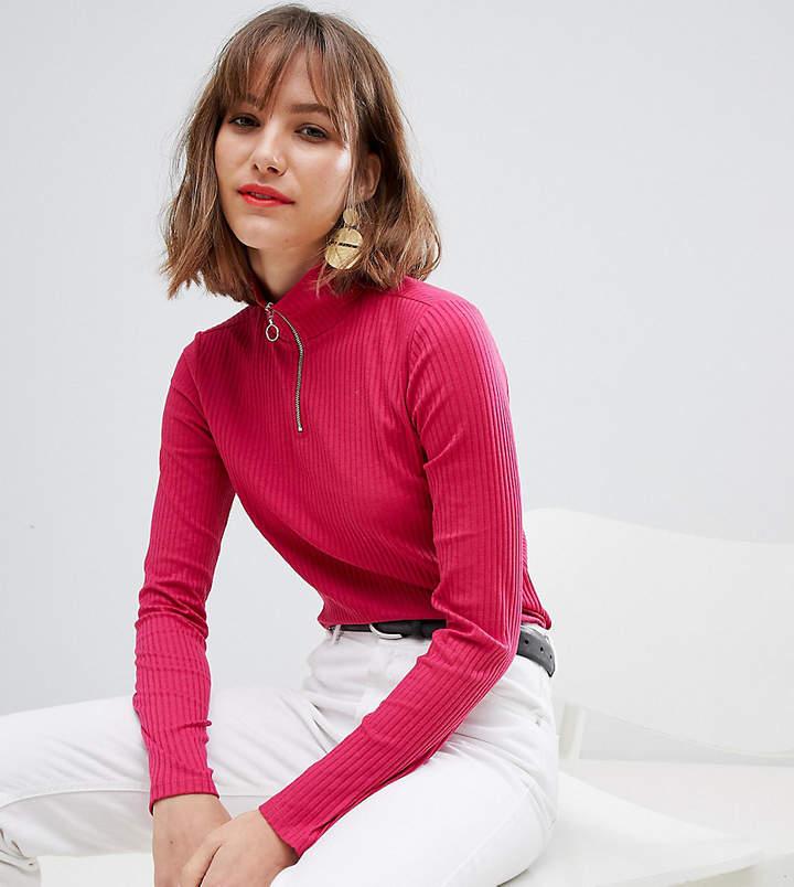 Esprit high neck zip up jersey top in Pink