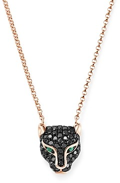 Bloomingdale's Black Diamond & Emerald Panther Pendant Necklace in 14K Rose Gold, 18 - 100% Exclusive