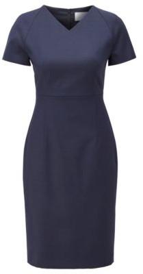 BOSS Short-sleeved dress in patterned Italian wool