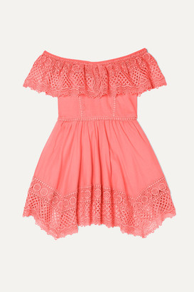 Charo Ruiz Kids - Vaiana Crocheted Lace-paneled Cotton-blend Dress - Coral