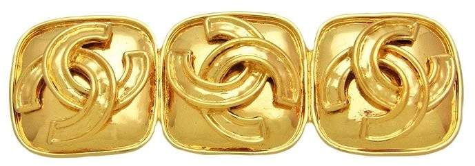 Chanel Triple CC Logo Gold Tone Metal Quad Pin Brooch
