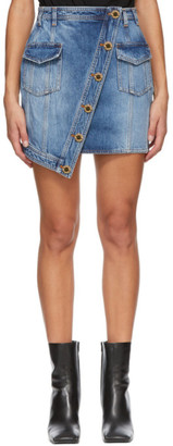 Balmain Blue Denim Asymmetric Wrap Miniskirt