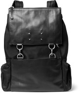 Maison Margiela Leather And Canvas Backpack - Black