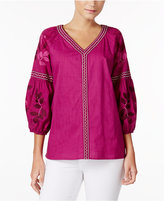 Charter Club Cotton Embroidered Bubble-Sleeve Top, Created for Macy's