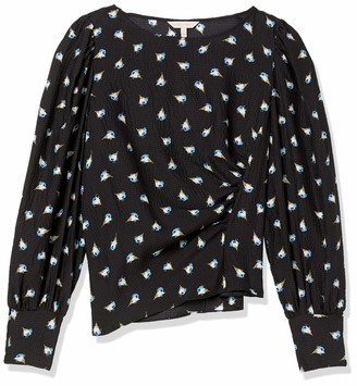 Rebecca Taylor Women's Long Sleeve Floral Blouse with Ruched Side Detail