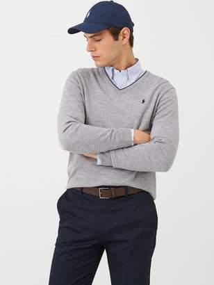 Polo Ralph Lauren Golf V-Neck Contrast Trim Knitted Jumper - Grey