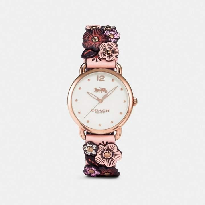Coach Delancey Watch With Floral Applique, 36Mm