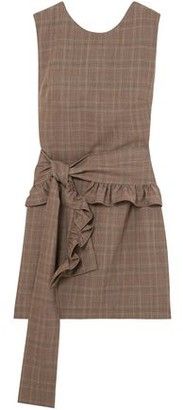 Maggie Marilyn Ruffled-trimmed Checked Wool Mini Dress