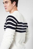 7 For All Mankind Textured Mariner Sweater With Navy Stripe
