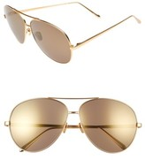 Linda Farrow Women's 64Mm Aviator Sunglasses - Matte Yellow Gold