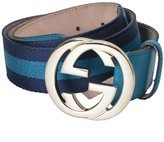 Gucci Men's Leather Canvas GG Buckle Decorated Belt