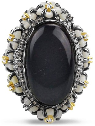 Bellus Domina Sterling Silver Hematite Cocktail Ring