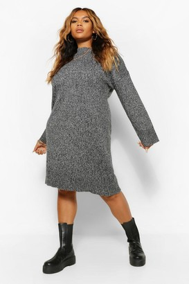 boohoo Plus Oversized Slouchy Knitted Midi Dress