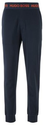 HUGO BOSS Loungewear Pants In Cotton Pique Jacquard With Cuffed Hems - Dark Blue
