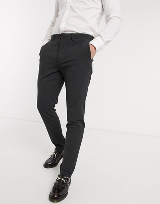 ASOS DESIGN wedding skinny suit trousers in charcoal four way stretch