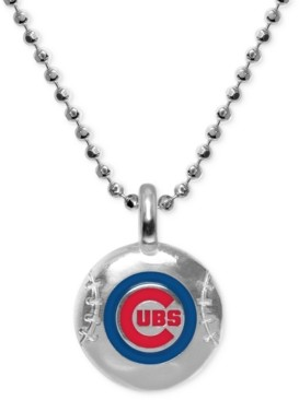 "Alex Woo Chicago Cubs 16"" Pendant Necklace in Sterling Silver"