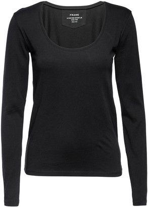 Frame Le Mid Rise Scoop-Neck Long-Sleeve Tee