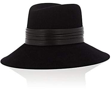 Saint Laurent Women's Rabbit Fur Felt Fedora - Black