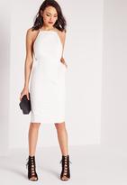 Missguided Square Neck Spaghetti Strap Midi Dress White
