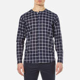 Folk Men's Collarless Shirt Navy Check