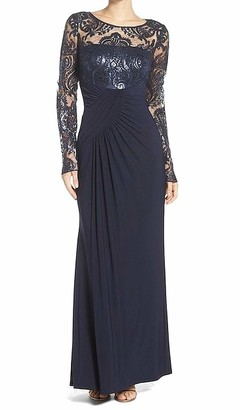 Eliza J Women's Long Sleeve Gown with Front Gathering