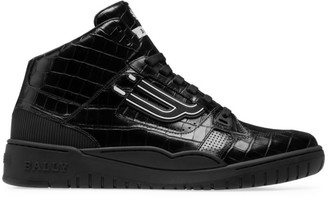 Bally Champion King Embossed Leather Mid-Top Sneakers