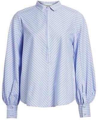 Jet Set Diagonal Stripes Puff-Sleeve Shirt