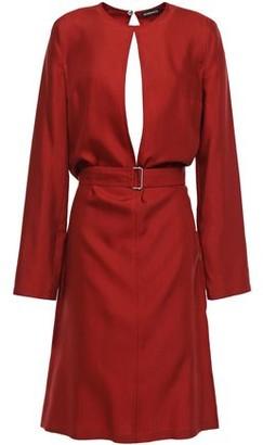 Ann Demeulemeester Belted Cutout Wool And Silk-blend Twill Dress