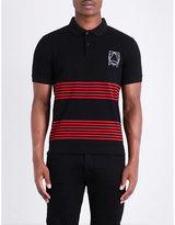Mcq Alexander Mcqueen Panelled Stripe Cotton Polo Shirt