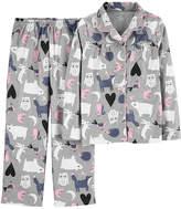 CARTERS Carter's Button Front Long Sleeve Top & Pant 2-Pc. Pajama Set - Preschool Girls