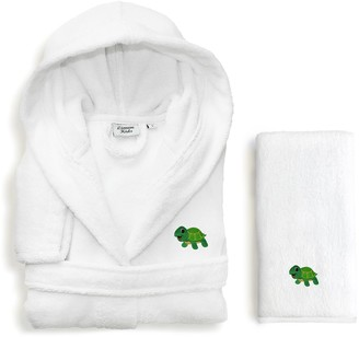 Linum Home Textiles Kids Turtle 2-piece Terry Hooded Bathrobe & Hand Towel Set