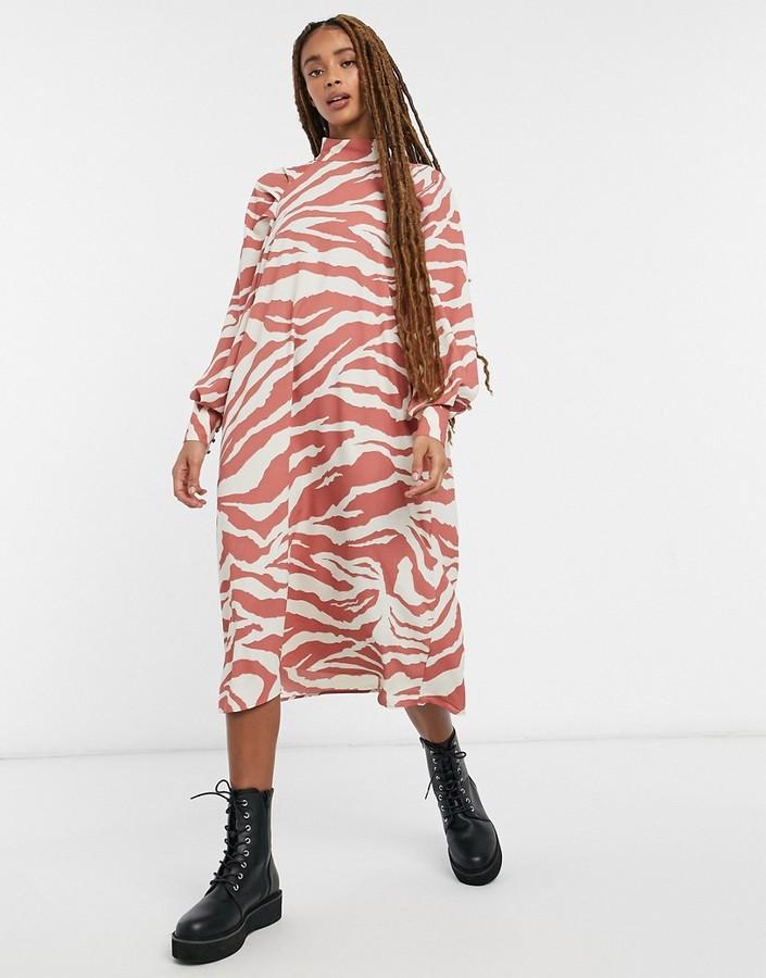 Monki Bella high neck midi dress in orange zebra print