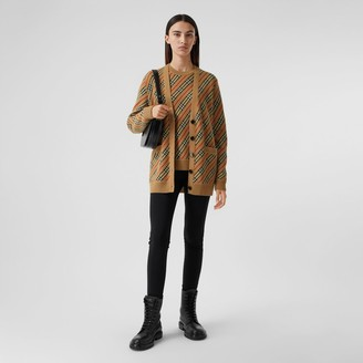 Burberry Stripe Merino Wool Blend Cardigan