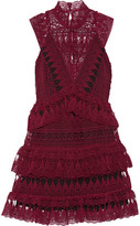 Self-Portrait Tiered Guipure Lace Mini Dress - Burgundy