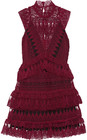 selfportrait tiered guipure lace mini dress burgundy