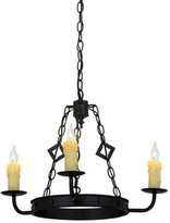 Greenbriar Oak 3-Light Candle Style Wagon Wheel Chandelier Meyda Tiffany