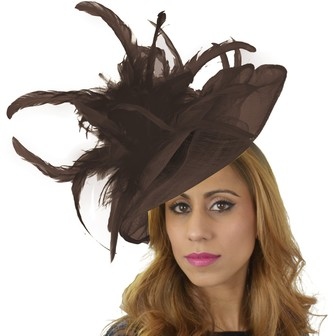 Hats By Cressida Womens Occasion Velidhoo Chocolate Large Ascot Derby Fascinator Hat - with Headband