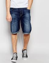 Lee Denim Shorts 5 Pocket Straight Fit in Blue Sphere Dark Wash