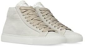 P448 Women's Star Wavy Texture High Top Platform Sneakers