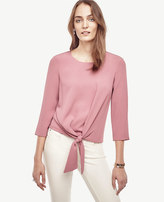 Ann Taylor Petite Mixed Media Tie Waist Top