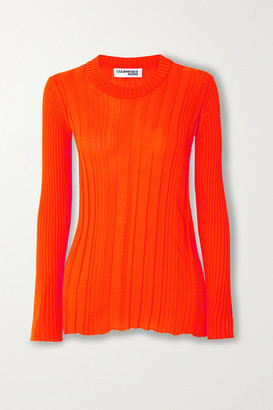 Courreges Ribbed Cotton Sweater - Orange