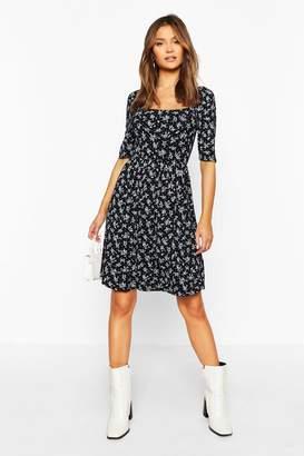 boohoo Ditsy Print Puff Sleeve Jersey Skater Dress