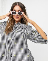 Thumbnail for your product : New Look gingham blouse with floral embroidery in black check